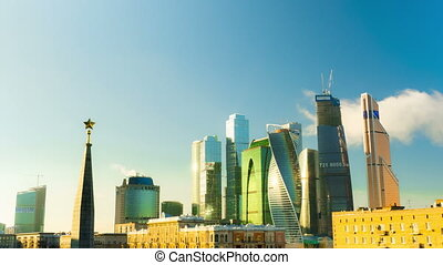 New City center night view, on December 31th, 2014 in Moscow,   is situated on  River in  Central Federal District of European Russia