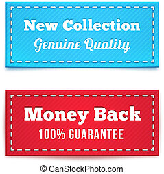 New Collection and Money Back Tag Badges in Blue and Red