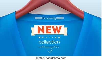New collection tag on shirt. Blue jacket hanging on hangers. New delivery of the goods. Stylish advertisements for your design of posters, print design. Horizontal 3D illustration