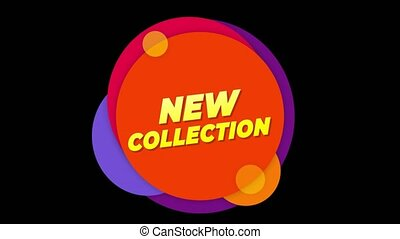 New Collection Text Sticker Colorful Sale Popup Animation.