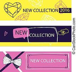 New collection. Web Banner, Header Layout Template for shop