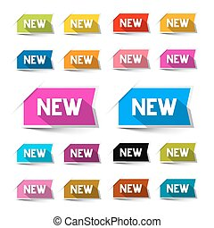 New Colorful Vector Paper Labels - Stickers Set Isolated on White Background
