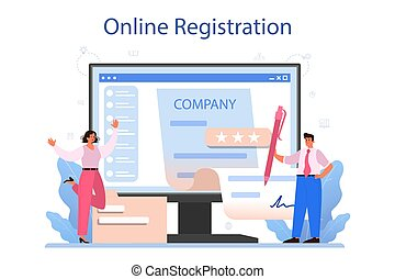 New company registration online service or platform. Business start up form. Brand and identity building process. Online registration. Isolated vector illustration