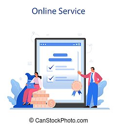 New company registration online service or platform. Business start up form. Brand and identity building process. Isolated vector illustration