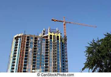 New Condo Tower - New condominium construction site with ...