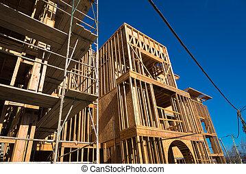 New Condominium or apartment construction - Wooden framing ...