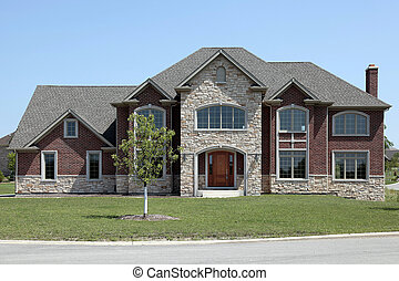 New construction brick and stone home