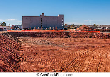 new construction excavated for new building foundations