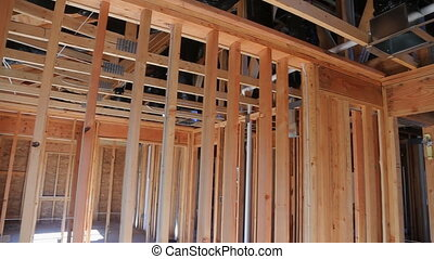 New construction framing house with frame - New construction...
