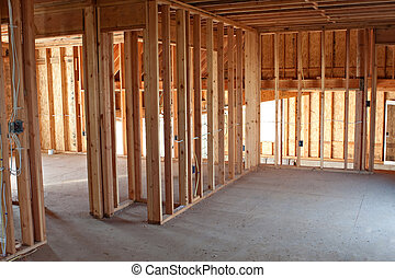 New Construction Framing Interior - Framed building or...