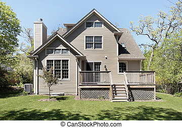 New construction home with deck - Rear view of new...