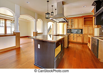 New construction luxury home interior.Kitchen with beautiful...