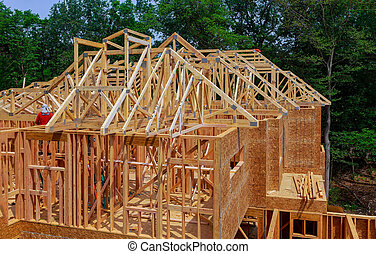 New construction of beam construction house framed