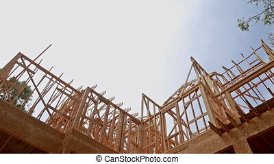New construction of beam construction house framed the...