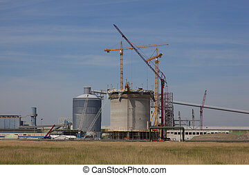 new construction site with blue sky