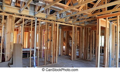 New Construction Wood Home Framing Abstract. New...