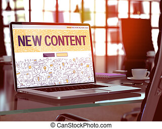New Content Concept Closeup on Landing Page of Laptop Screen in Modern Office Workplace. Toned Image with Selective Focus. 3D Render.