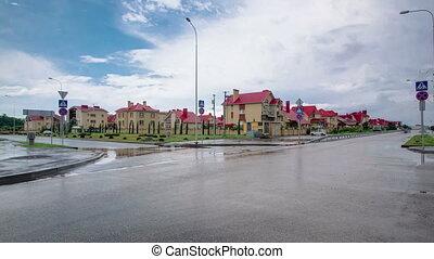 New cottage settlement Nekrasov village in sunny summer day timelapse