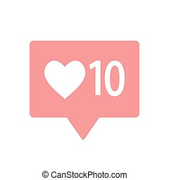 New Counter Notification Icon. Follower. New Icon like 1 insta symbol, button. Social media like insta ui, app, iphone. Vector illustration. EPS 10