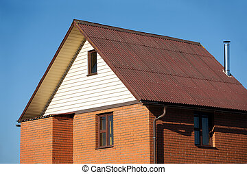 New country brick house closeup
