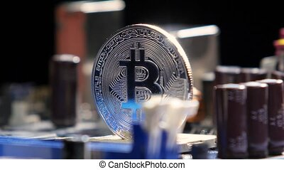 New crypto currency, bitcoin and computer fee finance.