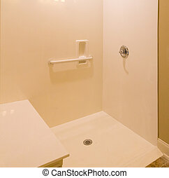 A new cultured marble shower with handicap access