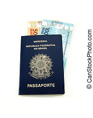 New currency from Brazil inside passport