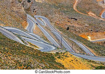 New curvy road near Chora Sfakion town on Crete, Greece
