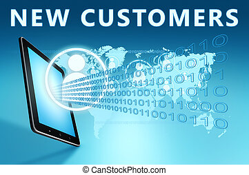 New Customers illustration with tablet computer on blue...