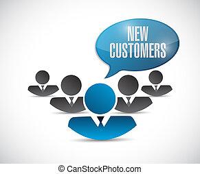 new customers team sign concept illustration design over ...