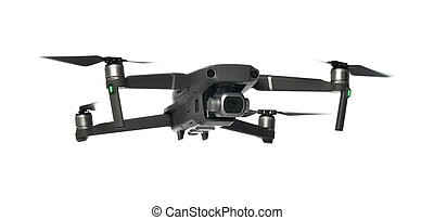 New dark grey drone quadcopter with digital camera and sensors flying on white