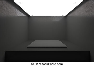 New dark interior with podium