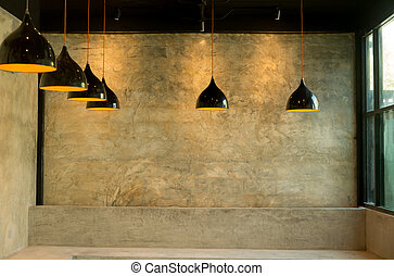 Ceiling light lamp interior with concrete wall