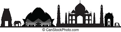 new delhi india skyline with elephants and monkey