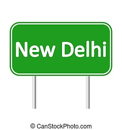 New Delhi road sign.