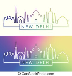 New Delhi skyline. Colorful linear style.