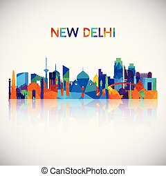 New Delhi skyline silhouette in colorful geometric style.