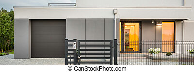 New design villa with garage - Panoramic photo of new design...