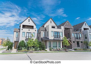 New development three story single family houses near Dallas...