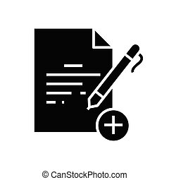 New document black icon, concept illustration, vector flat symbol, glyph sign.