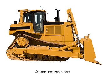 this is a side view of a brand new bulldozer isolated on white