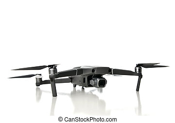New drone quadcopter with digital camera isolated on white