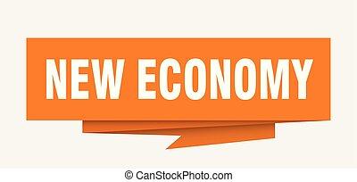 new economy sign. new economy paper origami speech bubble....