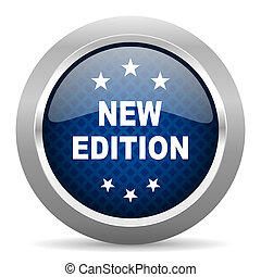 new edition blue circle glossy web icon on white background, round button for internet and mobile app