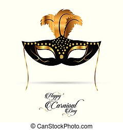 new elegant black and golden carnival mask with golden feathers and black typography on white background
