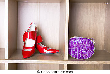 shoes on high heel and a purse - New elegant Red shoes on...