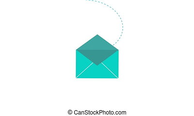 New incoming mail concept 2d animation of email icon opening. Message envelope symbol for app ui, business mailing or internet site motion graphic 4k footage.