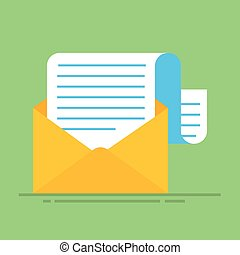 New email message. Flat carton envelope with open mail correspondence, e-mail letter clipart. Vector illustration. Icon isolated.