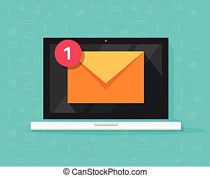 New email on laptop vector illustration, flat cartoon style of computer and e-mail envelope with notification received, idea of newsletter, electronic mail or letter on screen isolated icon