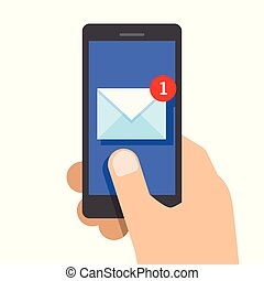 New email on smartphone screen. Vector illustration